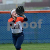 Oswego left fielder Hayley Marland tracks down a Plainfield North fly ball during a varsity softball game at Oswego High School on Friday, April 28, 2017.<br /> Steve Buyansky for Shaw Media