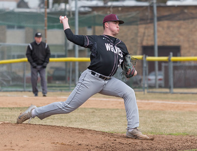 Prairie Ridge starting pitcher, Joseph Hansen, delivers a pitch against Cary-Grove Monday, April 2, 2018 in Cary. Prairie Ridge went on to win the game 6-5 in the extra-inning game.  KKoontz- For Shaw Media