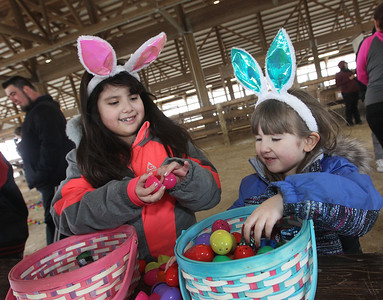 Candace H. Johnson-For Shaw Media Eleny Romo, 8, of Round Lake and her sister, Jessie, 4, go through the Easter eggs they picked up to look for a prize slip during the Re/Max Center's Easter Egg Hunt at the Lake County Fairgrounds in Grayslake.(3/31/18)