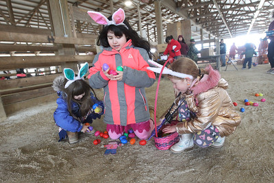 Candace H. Johnson-For Shaw Media Jessie Romo, 4, and her sister, Eleny, 8, pick up Easter eggs with their best friend, Bella VanHorn, 7, all of Round Lake during the Re/Max Center's Easter Egg Hunt at the Lake County Fairgrounds in Grayslake.(3/31/18)