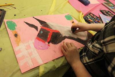 Candace H. Johnson-For Shaw Media Eden Hamelberg, 8, of Antioch works on her drawing of a horse using pastels during the Horses Art Camp at the Hunt Club Community Center in Gurnee.(3/30/18)