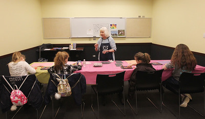 Candace H. Johnson-For Shaw Media Susan Noon, of Lindenhurst, a Young Rembrandts art teacher, teaches her class how to use pastels before coloring in their horse drawing during the Horses Art Camp at the Hunt Club Community Center in Gurnee.(3/30/18)