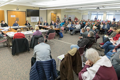 A large number of area residents were in attendance during the McHenry County Zoning Board of Appeals meeting Thursday, April 5, 2018 in Woodstock. Many residents are raising concerns over a proposed solar farm complex to be built on Ringwood Road. KKoontz- For Shaw Media