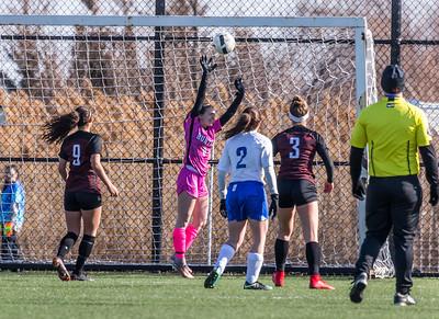 A shot for Highland Park finds the net just over Huntley goalie Jenna Franklin Saturday, April 7, 2018 in Schaumburg. Huntley fell to Highland Park 5-3 in the PepsiCo Showdown. KKoontz – for Shaw Media