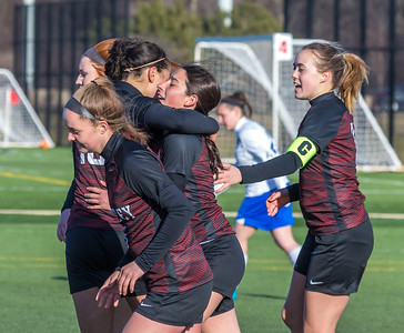 Huntley teammates celebrate the goal by Alyssa Xanos Saturday, April 7, 2018 in Schaumburg. It wasn't enough as Huntley fell to Highland Park 5-3 in the PepsiCo Showdown. KKoontz – for Shaw Media