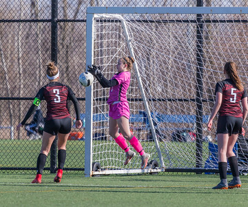 Huntley goalkeeper Jenna Franklin makes the stop Saturday, April 7, 2018 in Schaumburg. It wasn't enough as Huntley fell to Highland Park 5-3 in the PepsiCo Showdown. KKoontz – for Shaw Media