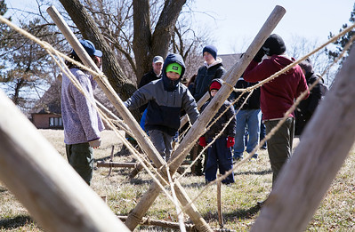 "Cub Scout Cayden Mejia, 6 from Algonquin with Pack 152, walks across the ""Monkey Bridge"" during the third annual Scouting Around at Colonel Palmer House on Saturday, April 7, 2018 in Crystal Lake, Illinois. The program is a free annual event run by the Crystal Lake Park District celebrating the youth in the community giving scouts from across McHenry County an opportunity to share skills they learn in their programs with the community. John Konstantaras photo for Shaw Media"