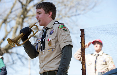 Boy Scout Kevin Golke, 13 from Cary with Troop 160, plays Colors during opening ceremonies for the third annual Scouting Around at Colonel Palmer House on Saturday, April 7, 2018 in Crystal Lake, Illinois. The program is a free annual event run by the Crystal Lake Park District celebrating the youth in the community giving scouts from across McHenry County an opportunity to share skills they learn in their programs with the community. John Konstantaras photo for Shaw Media