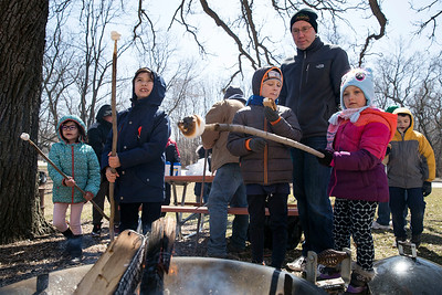 Christian Mutert, 8 from Algonquin with Cubs Scout Pack 152 checks his marshmallow as Nolan Carlson, 7 with Cubs Scout Pack 152, and his sister Meredith, 5, work on their smores during the third annual Scouting Around at Colonel Palmer House on Saturday, April 7, 2018 in Crystal Lake, Illinois. The program is a free annual event run by the Crystal Lake Park District celebrating the youth in the community giving scouts from across McHenry County an opportunity to share skills they learn in their programs with the community. John Konstantaras photo for Shaw Media