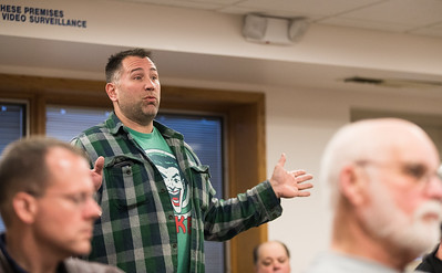 Whitney Rupp for Shaw Media James Wilson speaks during public comment at the annual Algonquin Township town meeting Tuesday, April 10.