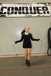 Candace H. Johnson-For Shaw Media Bella Crothers, 16, of Grayslake jumps rope for conditioning as she trains to fight in the Chicago Golden Gloves Finals boxing tournament at the Conquer Fight Club located inside the Libertyville Sports Complex.(4/5/18)