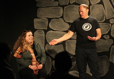 Candace H. Johnson-For Shaw Media Natalie Leroy, of Chicago volunteers to gives suggestions to act out a scene to Eric Hallberg, of Libertyville during the Improv Comedy Show at the Improv Playhouse in Libertyville. The Improv Comedy Show runs Saturday nights 7:30 pm-Family Friendly, 9:00 pm-Adult Friendly. (4/7/18)