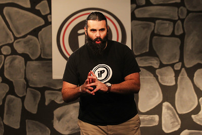 Candace H. Johnson-For Shaw Media Shahab Asta, of Chicago plays a theater game with his team as they entertain the crowd during the Improv Comedy Show at the Improv Playhouse in Libertyville. The Improv Comedy Show runs Saturday nights 7:30 pm-Family Friendly, 9:00 pm-Adult Friendly. (4/7/18)