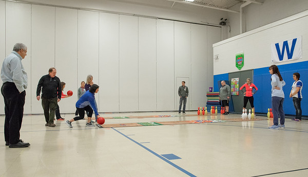 Teachers from 8 area schools are taught different types of bowling games to teach their students Tuesday, April 10, 2018 at Ringwood Elementary in Ringwood. Part of a new Physical Education program, the equipment was donated by Steve Kuna owner of Johnsburg Bowl. KKoontz – For Shaw Media