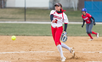 Whitney Rupp for Shaw Media Huntley's Tiffany Giese pitches at Dundee-Crown Tuesday, April 10. Huntley won 9-0.