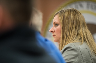 Whitney Rupp for Shaw Media Trustee Melissa Victor listens to a public comment during an Alqonquin Township board meeting Wednesday, April 11.