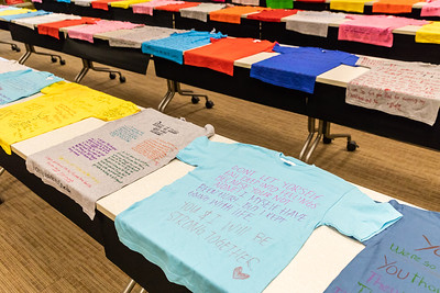 "T-shirts with messages of abuse, part of Operation Clothesline, are on display as part of the 8th annual domestic violence and sexual violence awareness event ""Take Back the Night"" at McHenry County College Wednesday, April 11, 2018 in Crystal Lake.  KKoontz- For Shaw Media"