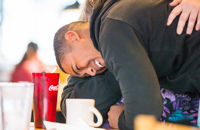 Whitney Rupp for Shaw Media Tyler Stark hugs his mother, Jennifer Stark, after surprising her Sunday morning at Tony's Cafe in Crystal Lake.