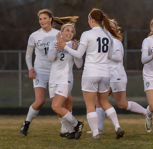 Cary-Grove players celebrate a goal by Freshman Jenna Stayart (2) against Crystal Lake Central Tuesday, April 17, 2018 in Cary. Cary went out to win 2-1. KKoontz – For Shaw Media
