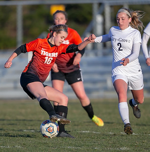 Crystal Lake Central's Erica Novy shows some great foot-work against Cary-Grove Tuesday, April 17, 2018 in Cary. Cary went out to win 2-1. KKoontz – For Shaw Media