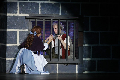 Candace H. Johnson-For Shaw Media Belle (Madison Hartman) talks to her father, Maurice (Jacob Wagner) as he sits in jail in the Beast's castle during dress rehearsal for Disney's Beauty and the Beast at Grant Community High School in Fox Lake. The musical will run April 19 & 20 at 7:00 pm and April 21 & 22 at 2:00 pm.(4/17/18)