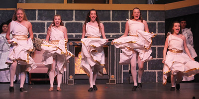 "Candace H. Johnson-For Shaw Media Lauren Gerdes, Kaylee Belletynee, Maya Gajeski, Megan Vanata and Megan Katzel as Napkins dance and sing the song, ""Be Our Guest,"" during dress rehearsal for Disney's Beauty and the Beast at Grant Community High School in Fox Lake. The musical will run April 19 & 20 at 7:00 pm and April 21 & 22 at 2:00 pm.(4/17/18)"