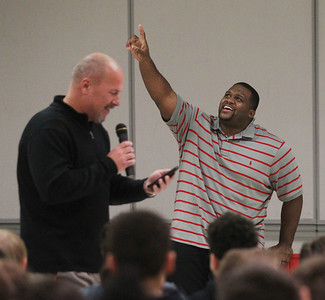 "Candace H. Johnson-For Shaw Media Principal Jeff Sefcik introduces Anthony ""Spice"" Adams, former Chicago Bear, and co-host of Inside the Bears, to 5th-8th grade students before he gave an inspirational talk about his life on and off the football field at Stanton Middle School in Fox Lake."