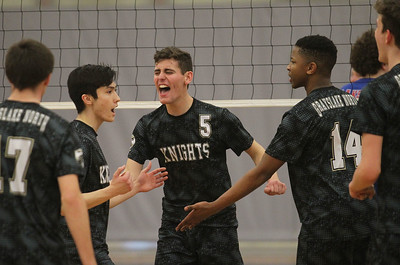Candace H. Johnson-For Shaw Media Grayslake North's Nick Anello celebrates a point with his team against Lakes in the second set at Grayslake North High School. Lakes won 25-22, 25-18.(4/17/18)