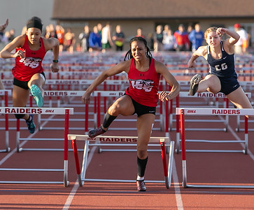 Although she hit the last hurdle, Huntley's Daryn Davis finished strong and wins the 100 meter hurdles Friday, April 20, 2018 at the McHenry County Track and Field Championship in Huntley. KKoontz – For Shaw Media