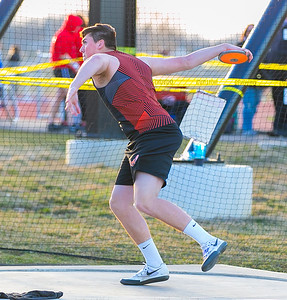 McHenry's Brian Keys wins the discus throw Friday, April 20, 2018 at the McHenry County Track and Field Championship in Huntley. KKoontz – For Shaw Media