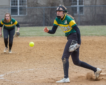 Crystal Lake South's Tina Toniolo delivers a pitch in the finals of the Woodstock Softball Tournament against Portage Saturday, April 21, 2018 in Woodstock. Crystal Lake South went on to win the tournament with a 12-0 shutout. KKoontz- For Shaw Media