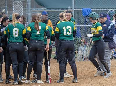 Crystal Lake South teammates celebrate with Maddie Bush after her homerun during the semi-finals of the Woodstock Softball Tournament Saturday, April 21, 2018 in Woodstock. South went on to beat Johnsburg 18-2 and advance to the finals against Portage. KKoontz- For Shaw Media