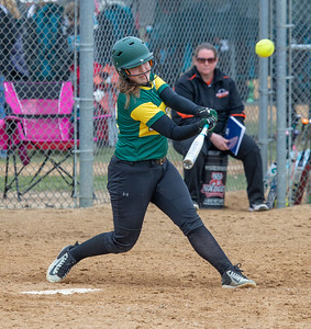 Crystal Lake South's Baylee Kassel hits a three-run homerun during the finals of the Woodstock Softball Tournament Saturday, April 21, 2018 in Woodstock. Crystal Lake South went on to win the tournament with a 12-0 shutout over Portage. KKoontz- For Shaw Media