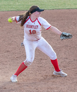 Huntley's Teagan O'Rilley fields the ball at third against Crystal Lake South Monday, April 23, 2018 in Huntley. Huntley goes on to win 11-7, snapping the Gators five game winning streak. KKoontz- For Shaw Media