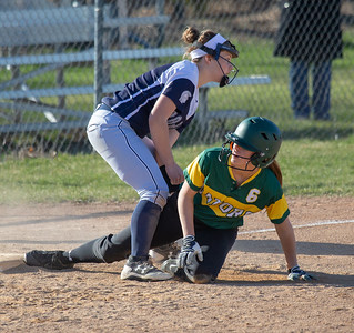 Crystal Lake South's Skylar Olsen is caught stealing third after Cary-Grove's Katy Wieczorek applies the tag Wednesday, April 25, 2018 in Cary. Crystal Lake South goes on to win 10-2. KKoontz-For Shaw Media