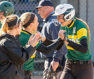 Crystal Lake South teammates congratulate Christina Toniolo after her three-run homerun against Cary-Grove Wednesday, April 25, 2018 in Cary. Crystal Lake South goes on to win 10-2. KKoontz-For Shaw Media