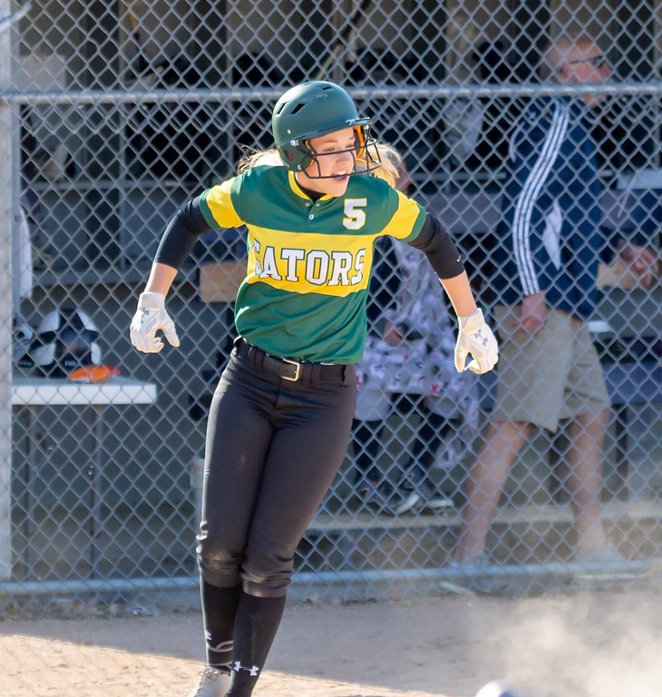 Crystal Lake South's Madelynn Bush crosses the plate after a passed ball against Cary-Grove Wednesday, April 25, 2018 in Cary. Crystal Lake South wins big, 10-2.<br /> KKoontz-For Shaw Media