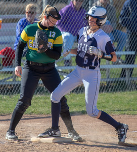 Cary-Grove's Jazmin Flashing takes third on a passed ball against Crystal Lake South Wednesday, April 25, 2018 in Cary. Crystal Lake South goes on to win 10-2. KKoontz-For Shaw Media