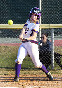 Candace H. Johnson-For Shaw Media Wauconda's Maggie Bonefas connects on a pitch against Grayslake Central in the seventh inning at Wauconda High School. Grayslake Central won 12-1.(4/24/18)