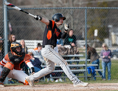 Camden Nisenson (4) from Crystal Lake Central hits a 2 RBI double during the fourth inning of their game against McHenry at Peterson Park on Thursday, April 26, 2018 in McHenry, Illinois. The Tigers defeated the Warriors 9-0. John Konstantaras photo for Shaw Media