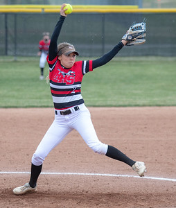Huntley's Tiffany Giese took the mound to start the conference game against Dundee-Crown Friday, April 27, 2018 in Huntley. Dundee-Crown came up with the win 4-2. KKoontz – For Shaw Media
