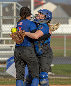 Dundee-Crown's Sydney Ruggles (L) and Claire Weeks (R) celebrate the win over Huntley Friday, April 27, 2018 in Huntley. Dundee-Crown went on to win the contest 4-2. KKoontz – For Shaw Media