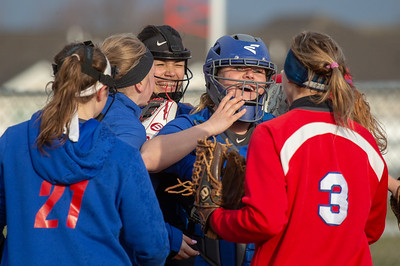 Dundee-Crown teammates celebrate a big win over Huntley Friday, April 27, 2018 in Huntley. Dundee-Crown went on to win the contest 4-2. KKoontz – For Shaw Media