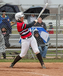 Huntley's Grace Kutz hits a two-run homerun against Dundee-Crown Friday, April 27, 2018 in Huntley. It wasn't enough as Dundee-Crown went on to win the contest 4-2. KKoontz – For Shaw Media