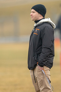 Crystal Lake Central lacrosse head coach Leo Zimmerman watches his team play against Prairie Ridge Thursday, April 4, 2019 in Crystal Lake. KKoontz – For Shaw Media