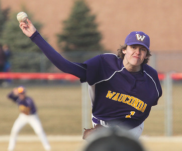 Candace H. Johnson-For Shaw Media Wauconda's Marcus Keller delivers a pitch againt Grant in the third inning at Grant Community High School in Fox Lake. Grant won 15-8. (4/2/19)