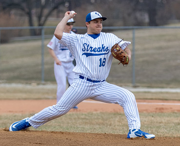 Woodstock's Jacob Waryck took the mound against Crystal Lake Central Friday, April 5, 2019 in Woodstock. Central blanked the Blue Streaks 13-0 in five innings.  KKoontz – For 	Shaw Media