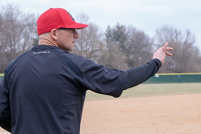 Huntley high school head baseball coach Andy Jakubowski calls in the play against Cary-Grove Saturday, April 6, 2019 in Cary. Cary would go on and take the win 4-3. KKoontz – For Shaw Media
