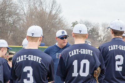 Cary-Grove head baseball coach Ryan Passaglia talks to his team before the game against Huntley Saturday, April 6, 2019 in Cary. Cary wins 4-3 with a walk-off walk in the bottom of the seventh inning. KKoontz - For Shaw Media