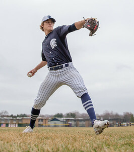 Cary-Grove pitcher Quinn Priester warms up before the game against Huntley Saturday, April 6, 2019 in Cary. Cary wins 4-3 with a walk-off walk in the bottom of the seventh inning. KKoontz – For Shaw Media